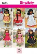"1486 Simplicity Pattern: Vintage Style 45cm (18"") Doll Clothes"